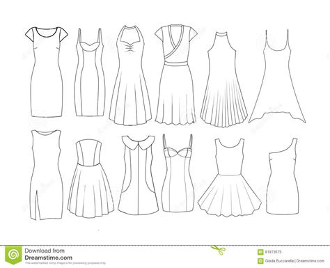 dress design template model set of fashion flat templates sketches dresses