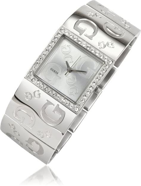 guess square guess square all logo in silver lyst
