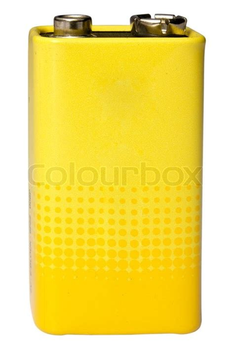 battery color 9 volt battery yellow color on a white background stock