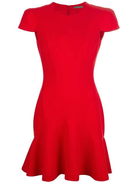 Dress Ruffle Dress lyst mcqueen sculpted ruffle hem dress in