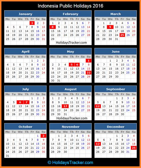 printable calendar 2016 indonesia calendar 2016 with public holiday calendar template 2016
