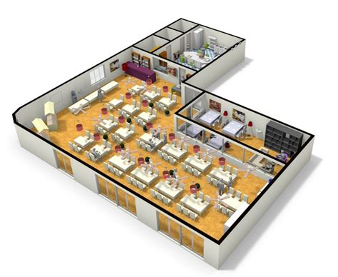 Apartment Layout Planner 3d Plan Of Large Restaurant From Floorplanner