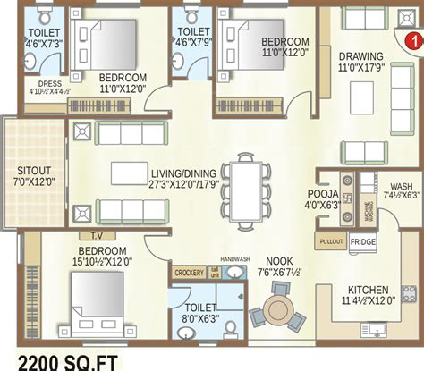 castle green floor plan 2200 sq ft 3 bhk 3t apartment for sale in my place mypi
