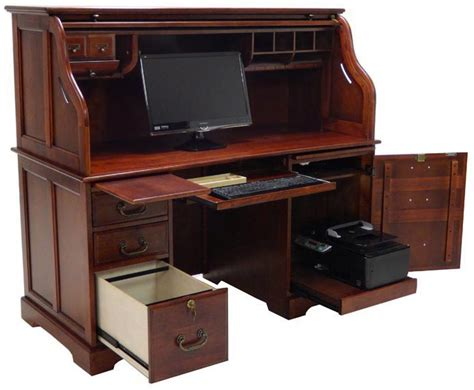 59 quot w cherry roll top computer desk in stock