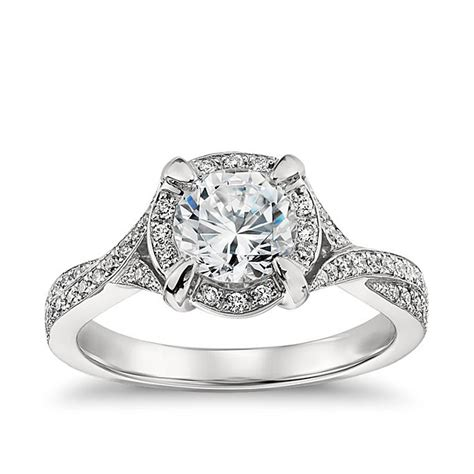 blue nile style 35341 platinum engagement ring with a