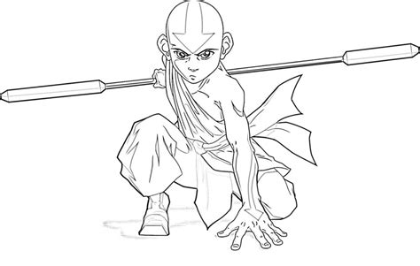 coloring avatar state aang coloring pages