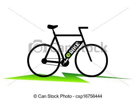 Drawing of e-bike - simplified illustration of an e-bike ... E Bike Clipart