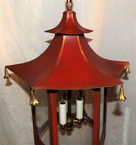 Pagoda Light Fixture Vintage Chinoiserie Gold Gilt Pagoda Lantern Fixture