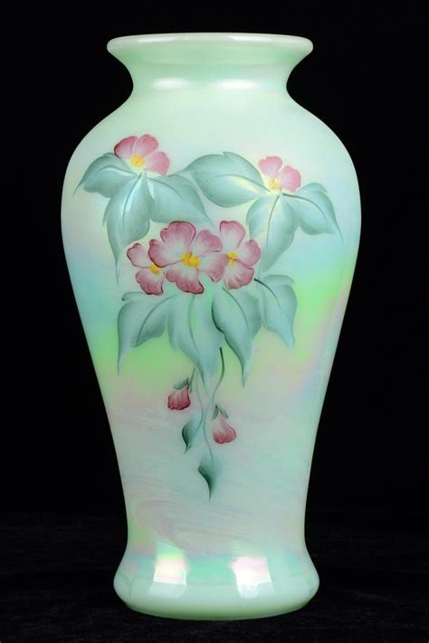 Painted Fenton Vase by Fenton Opalescence Flower Design Vase Painted By Sue