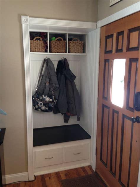 small front hall closet turned   mini mud room