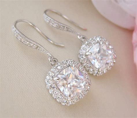 gorgeous cushion cut bridal earrings wedding earrings