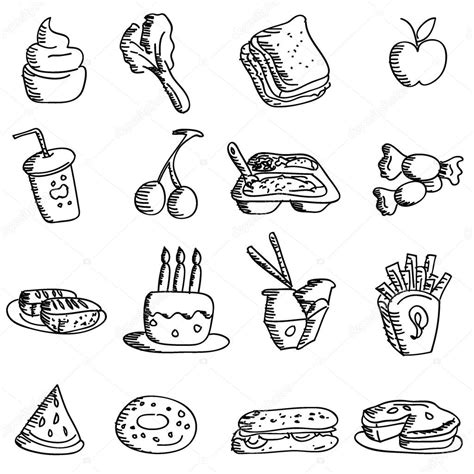 doodle food icons vector doodles food icons stock vector 169 glossygirl21