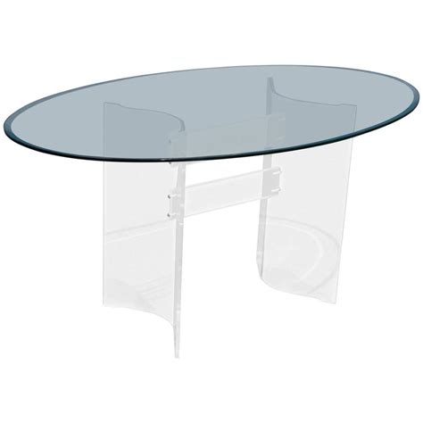mid century modern glass dining table mid century modern transparent lucite and glass oval
