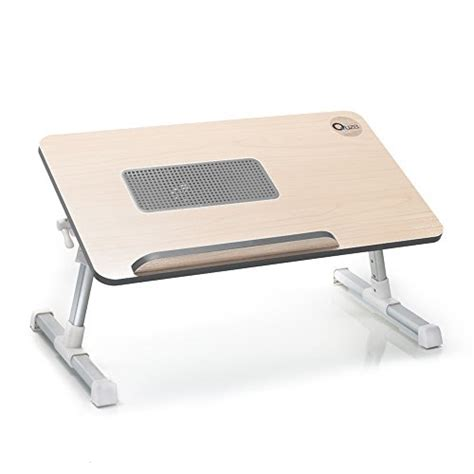 Quze Adjustable Wooden Laptop Desk Notebook Computer Stand Laptop Desk With Cooling Fan