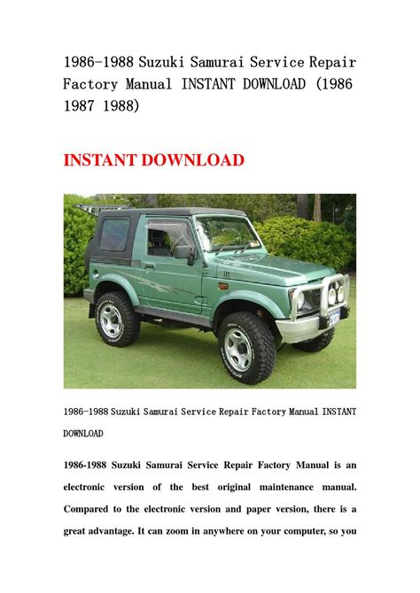 best car repair manuals 1988 suzuki sj electronic valve timing 1986 1988 suzuki samurai service repair factory manual instant download 1986 1987 1988 by qin