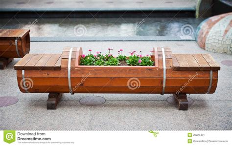 flower bed bench wood bench and flowerbed stock image image 26223421