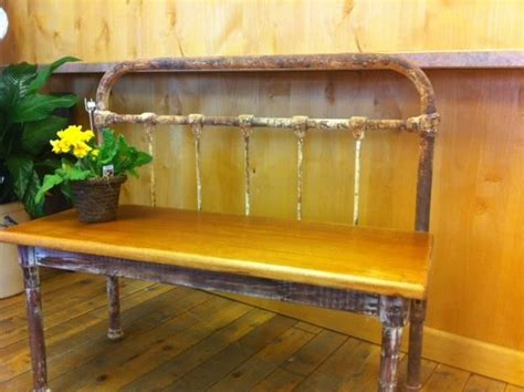 repurposed bed frame repurposed iron bed frame bench www facebook com
