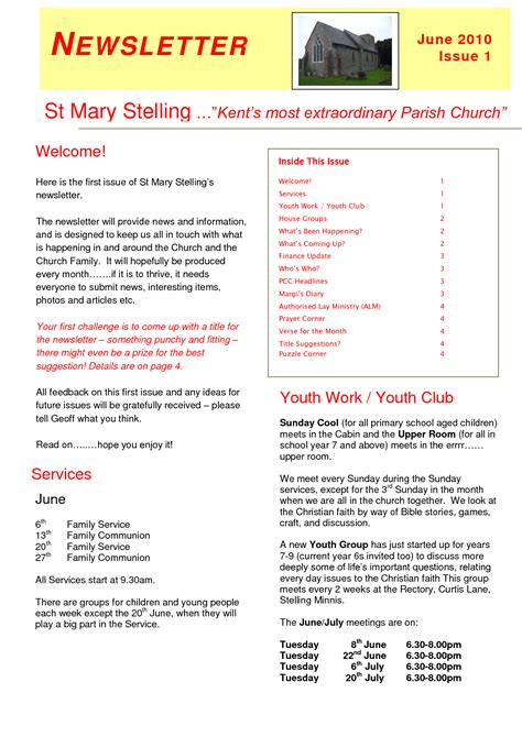 church newsletter templates free church newsletter templates free