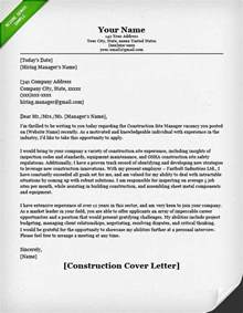 Resume Cover Letter Sles For Construction Manager Construction Cover Letter Sles Resume Genius