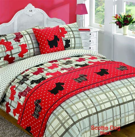 dog bedding set 5 piece bed in bag duvet quilt cover scottie dog tartan