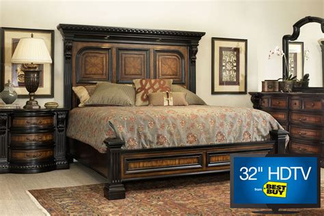 king platform bedroom set cabernet king platform bedroom set with 32 quot tv at gardner white