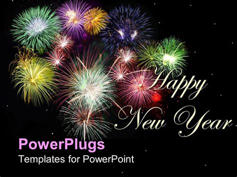 Powerpoint Template New Year Depiction With Colorful Fireworks Animation For Powerpoint
