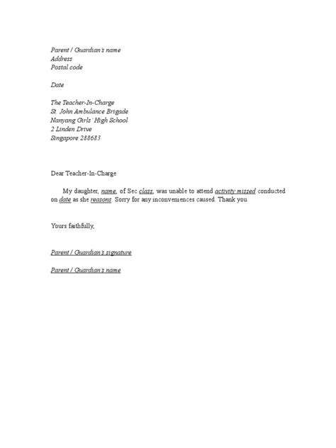 Sle Absence Excuse Letter For Missing School For Vacation Excuse Letter Format