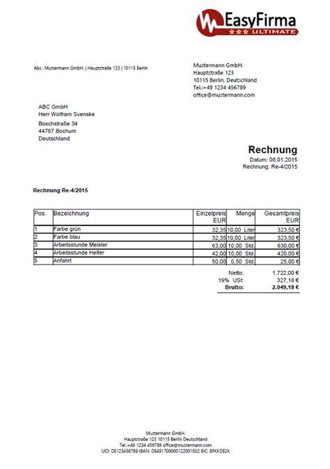 Rechnungsvorlagen Muster Rechnungsvorlagen Muster Beispiele Information