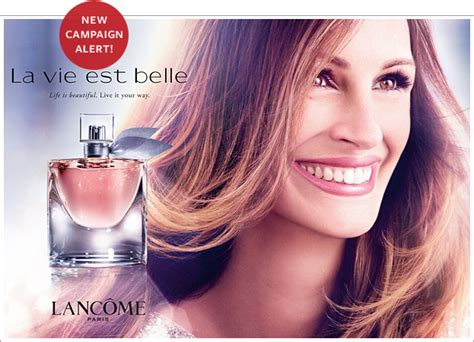 ad courtesy of e news 2010 photos of anistons lolavie promotion julia roberts models for lancome s new fragrance instyle com