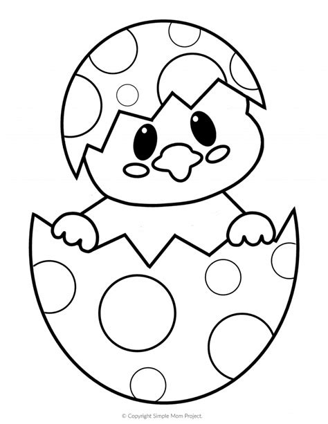 printable easter egg chick coloring pages simple