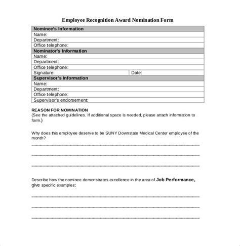 Employee Recognition Awards Template 9 Free Word Pdf Documentsdownload Free Premium Nomination Form Template