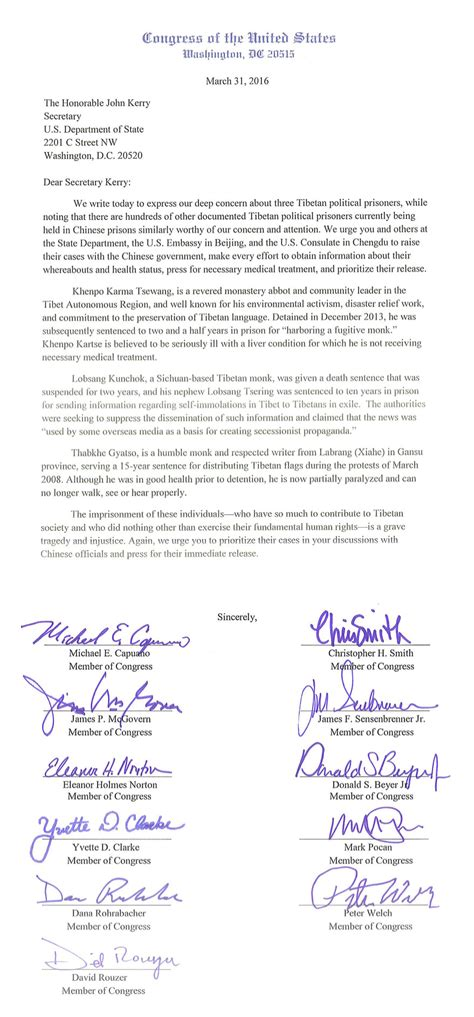 Congressional Letter
