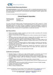 Clinical Research Assistant Sle Resume by Clinical Research Associate Uk Field Based