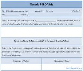 Generic Bill Of Sale Template by Sle Generic Bill Of Sale Form Sle Forms