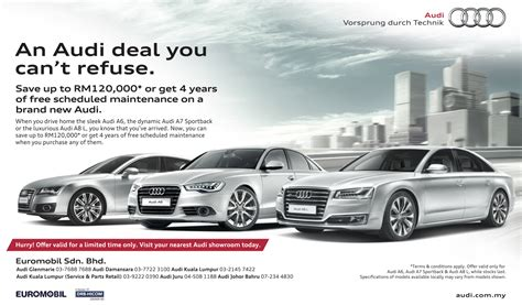 audi advertisement ad save rm120k or get 4 years free service when you buy
