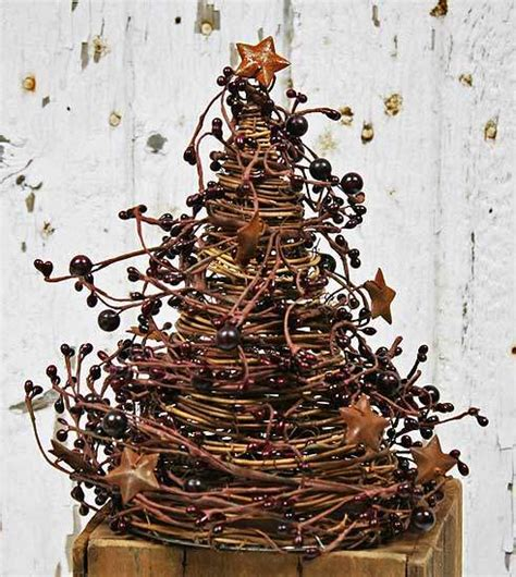 10 quot burgundy berries and rusty stars grapevine twig tree