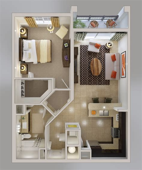 One Room Apartment Floor Plans | 1 bedroom apartment house plans