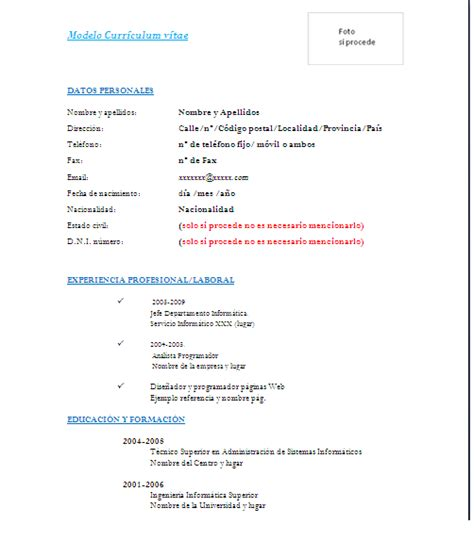 Modelo Curriculum España Word Formato De Curriculum Vitae En Word Hatch Urbanskript Co