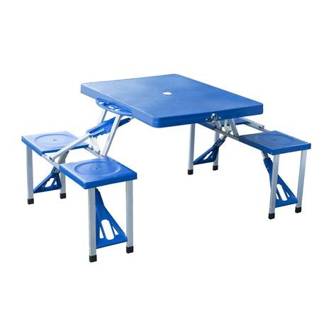 portable picnic bench outsunny portable folding picnic table blue