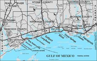 mississippi gulf coast map of mississippi gulf coast