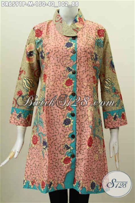 Dress Cantik Santai Biru Motif model batik anak muda jaman sekarang terbaru model baju