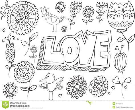 doodle bird free vector doodle flowers birds vector stock vector image 56323179