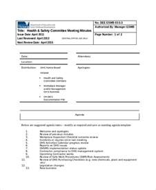 Health And Safety Minutes Of Meeting Template safety meeting minutes template 7 free word pdf