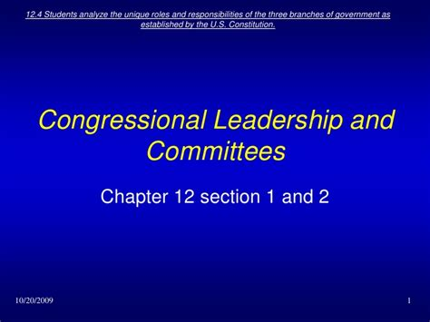 chapter 12 section 2 committees in congress ch 12 sec 1 and 2 congressional leadership and committees