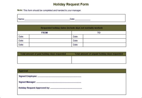 4 professional holiday request form template word