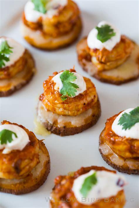 appetizers potato cheesy chipotle shrimp sweet potato coins willow bird baking