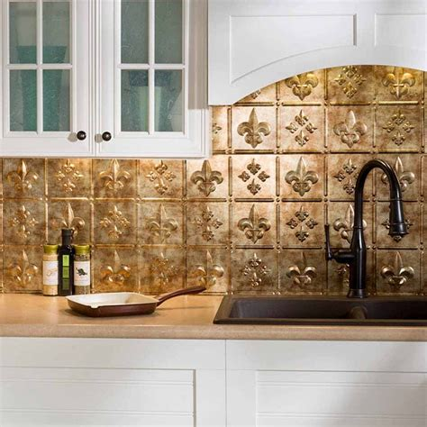 fasade backsplash fleur de lis in bermuda bronze