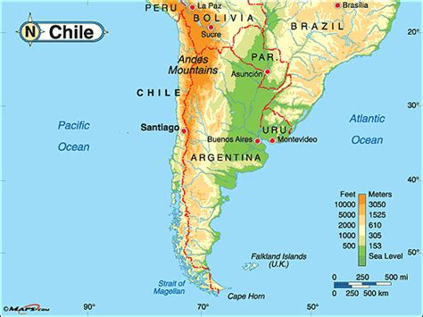physical map of chile chile physical map by maps from maps world s