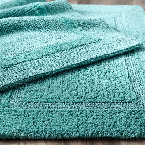 cotton bathroom rugs reversible cotton turquoise bath rug everything turquoise