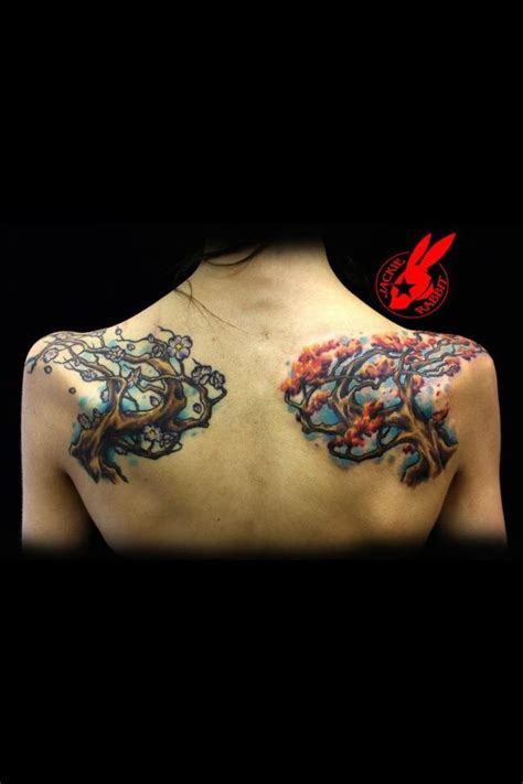 tattoo back spring fall and spring trees back tattoo by jackie rabbit by